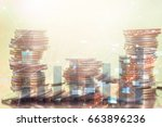 double exposure rows of coins... | Shutterstock . vector #663896236