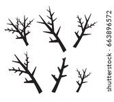 vector tree branches silhouette   Shutterstock .eps vector #663896572