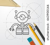 vector blueprint retro robot... | Shutterstock .eps vector #663900166