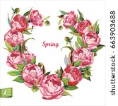 floral greeting card or... | Shutterstock .eps vector #663903688