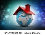 3d illustration of earth with...   Shutterstock . vector #663910102