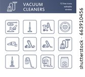 vacuum cleaners flat line icons.... | Shutterstock .eps vector #663910456