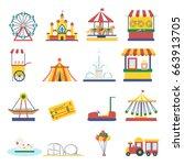 amusement park elements... | Shutterstock .eps vector #663913705