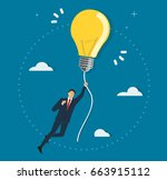 businessman holding a light... | Shutterstock .eps vector #663915112