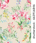 seamless hand painted in... | Shutterstock . vector #663916846