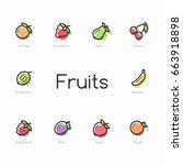 set of colorful fruit icons... | Shutterstock .eps vector #663918898