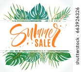 summer sale lettering beautiful ... | Shutterstock .eps vector #663926326
