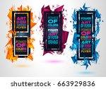 futuristic frame art design... | Shutterstock . vector #663929836