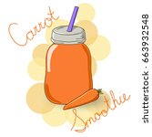 carrot smoothie in the glass...   Shutterstock .eps vector #663932548