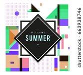 trendy vector summer cards... | Shutterstock .eps vector #663938746