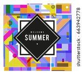 trendy vector summer cards... | Shutterstock .eps vector #663942778