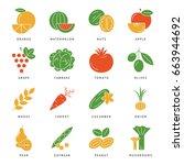 digital vector green vegetable... | Shutterstock .eps vector #663944692