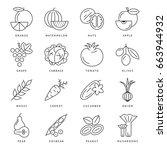 digital black vegetable icons... | Shutterstock .eps vector #663944932