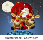 santa claus on sleigh with... | Shutterstock .eps vector #66394639