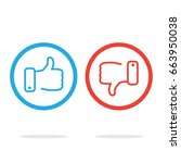 thumb icons. like and dislike.... | Shutterstock .eps vector #663950038