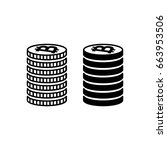 stack of bitcoins. piled coins...   Shutterstock . vector #663953506