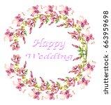 flower frame  watercolor hand... | Shutterstock . vector #663959698