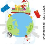 santa claus delivering gifts... | Shutterstock .eps vector #66396226