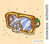 vector linear illustration of... | Shutterstock .eps vector #663962692
