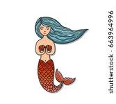 hand drawn cute little mermaid. ... | Shutterstock .eps vector #663964996