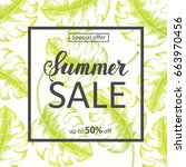 summer sale background with... | Shutterstock . vector #663970456