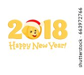 yellow numbers 2018 with a... | Shutterstock .eps vector #663972766