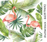 watercolor seamless pattern of... | Shutterstock . vector #663979492