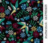 embroidery seamless pattern... | Shutterstock .eps vector #663980605