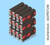 cryptocurrency gpu mining farm. ... | Shutterstock .eps vector #663987148