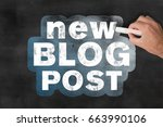 hand holding a piece of chalk... | Shutterstock . vector #663990106