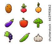 fruit vegetables  new icons of... | Shutterstock .eps vector #663990862
