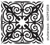 hand drawn sample for tile in...   Shutterstock .eps vector #663991858