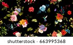 Stock vector wide vintage seamless background pattern rose peony poppy with humming birds around on black 663995368