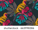 vector seamless pattern with... | Shutterstock .eps vector #663998386