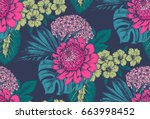 vector seamless pattern with... | Shutterstock .eps vector #663998452