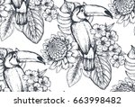 vector seamless pattern with... | Shutterstock .eps vector #663998482