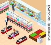 interior shop with furniture... | Shutterstock . vector #664002925