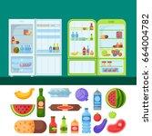 refrigerator organic food... | Shutterstock .eps vector #664004782