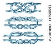 sea boat rope knots vector... | Shutterstock .eps vector #664005058