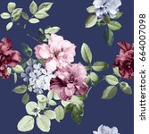vintage flowers and blue...   Shutterstock . vector #664007098