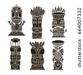 wood polynesian tiki idols ... | Shutterstock .eps vector #664007332