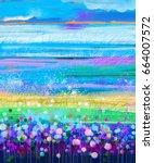 oil painting flowers dandelion  ... | Shutterstock . vector #664007572
