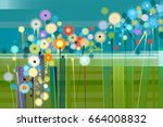 abstract floral oil color... | Shutterstock . vector #664008832