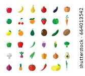 fruit and vegetable icons set.   Shutterstock .eps vector #664013542