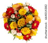 bouquet of flowers on a white... | Shutterstock . vector #664014382