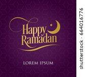 happy ramadan vector with moon...   Shutterstock .eps vector #664016776