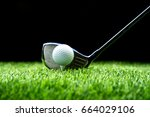 golf club driver aim with golf... | Shutterstock . vector #664029106