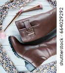 leather boots chocolate color... | Shutterstock . vector #664029292