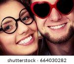 happy young couple in heart...   Shutterstock . vector #664030282