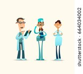 vector illustration of a group... | Shutterstock .eps vector #664034002